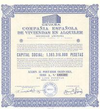 Compania Espanola de Viviendas en Alquiler SA, accion Madrid, 1977