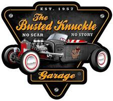 Busted Knuckle Garage Mechanic Rat Rod Metal Sign Man Cave Shop Club BUST124