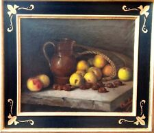 "ANTIQUE BAROQUE OIL PAINTING  ON CANVAS ""APPLES & CHESTNUTS  "" ca 1800"