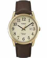 Timex TW2P75800, Men's Easy Reader Brown Leather Watch, Indiglo, TW2P758009J