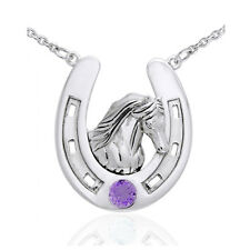 Sterling Silver Large Horseshoe Necklace with Friesian Horse Head Amethyst 18""