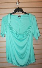NEW WOMENS PLUS SIZE 2X LIGHT MINT GREEN MUST HAVE WIDE NECK KNIT SHIRT TOP