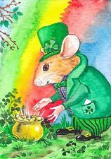 ORIGINAL ACEO MOUSE ST PATRICKS DAY PAINTING WATERCOLOR FOLK MICE IRISH GIFT ART