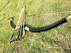 Outer Archery Longbow Handmade Traditional recurve bow 20#-60#+ 6 wooden arrows