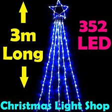 LED Waterfall Star Top & 3m Curtain 352 BLUE & WHITE Lights Outdoor Christmas