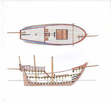 VINTAGE HISTORICAL SAILING SHIP PRINT ~ SECTIONS OF A CARAVEL 1480