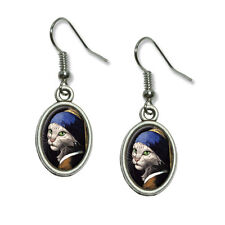 The Cat with the Pearl Earring Girl Johannes Vermeer Dangling Drop Oval Earrings