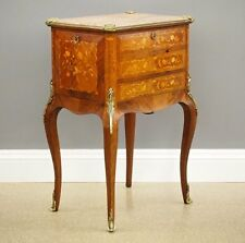 Antique Fine French Marble Top Gilt Bronze Mounted Inlaid Bar Liquor Cabinet