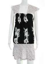 LOLITA JACA Black White Floral Geometric Short Sleeve Tunic Dress Sz M RB762
