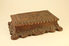 Antique Edwardian Victorian Ornate Carved Hand Crafted Wood Jewelry Trinket Box