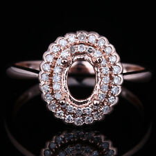 Two Halo Oval 7x5mm Cut Real Diamonds Semi Mount Engagement Ring 10K Rose Gold
