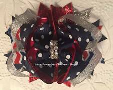 """Red White Navy Silver Dot Chevron Patriotic 4th of July Jeweled Hair Bow 4"""""""