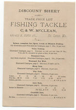 Rare 1880s Fishing Tackle Discount sheet St Louis Mo