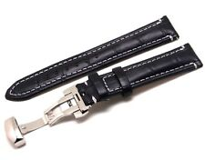 20mm Black Croco Embossed Leather Contrast Stitch Watch Strap DEPLOYMENT CLASP