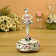 Ballerina Girl Wind up Resin Pink Music Box Christmas Birthday gift+track No.