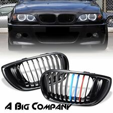 FOR 02-05 BMW E46 3-SERIES 325I 330I 4DR HIGH GLOSS BLACK M COLOR KIDNEY GRILLE