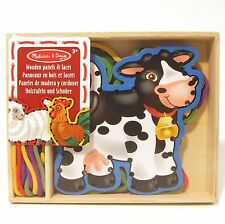 Lacing Toy Wooden Farm Animals Lace + Trace Melissa and Doug Threading Sewing 3+