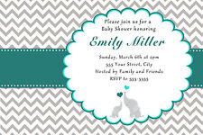 30 Elephant Invitation Cards Baby Shower Teal and Grey Chevron