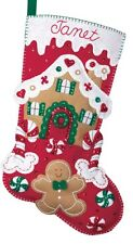 "Bucilla 18"" Christmas Felt Stocking Kit ""Gingerbread House""  Candies Red Green"