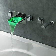 LED Waterfall Wall Mounted Bathroom Bath Filler Mixer Tap Hand Shower Valve