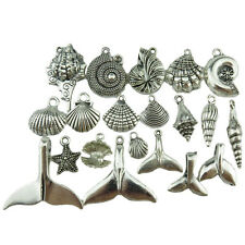 20X MIX Vintage Silver Alloy Beach Sea Star Ocean Conch Shell Whale Tail Pendant
