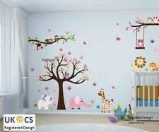 Forrest Tree animals Owls Butterfly Pink Elephant Nursery Baby Wall Stickers
