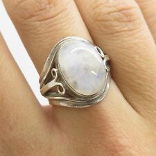 Vtg 925 Sterling Silver Natural Large Moonstone Gemstone Ring Size 6 1/4