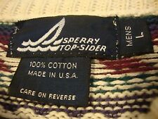 SPERRY TOPSIDER Men's Sweater Large Cotton Ugly Geometric Made in USA