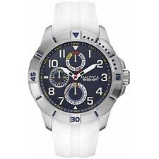 NEW AUTHENTIC NAUTICA White Silicone Choronograph Men's Sport Watch NAD12514G