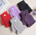 New Thermal Men Ladies Fingerless Gloves Winter Half Finger Flip Knitted Mittens