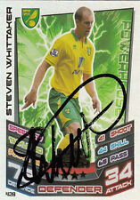 NORWICH CITY HAND SIGNED STEVEN WHITTAKER 12/13 MATCH ATTAX CARD MOTM.