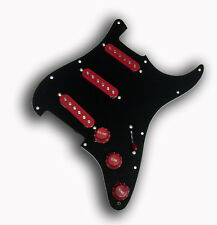 Dragonfire Prewired-Loaded Strat Pickguard SSS, 3 Ply Black with RED Pickups