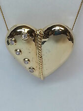 GOLD PLATED  CUBIC ZIRCONIA HEART SHAPED SLIDE PENDANT!!