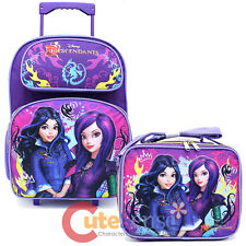 "Disney Descendants 16"" Large School Roller Backpack Lunch Bag 2pc Set Fairy Tale"