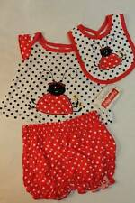 NEW Baby Girls 3 pc Outfit Red White Ladybug 6 - 9 Mo Shirt Diaper Cover Bib Set
