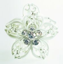 QUALITY HAIR ClAW Clip Hairpin use Swarovski Crystal VINTAGE GIFT Flower White