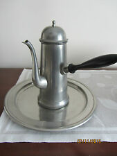 DANISH PEWTER COFFEE/TEA POT W/WOOD SIDE HANDLE *PLUS** VINT. HEAVY PEWTER PLATE
