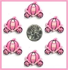 6 PC PINK CINDERELLA PRINCESS CARRIAGE FLATBACK HAIRBOW CENTERS RESINS FLAT BACK