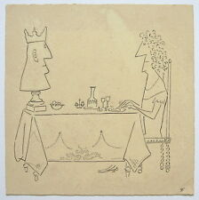SAUL STEINBERG Curious drawing painting. Signed.