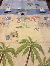 Beach Ocean Palm Trees Sailboats Fabric Shower Curtain New