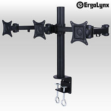 "Ergolynx Triple VESA Monitor Arm Stand Desk Mount LCD LED Display 3 24"" Screens"