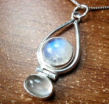 Moonstone Globe in Hoop Accented by Rose Quartz Necklace 925 Sterling Silver New