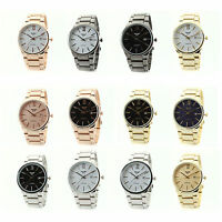 Luxury Mens Fashion NY LONDON Retro Stainless Steel Round Waterproof Wrist Watch