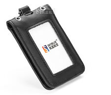 Double Deck Genuine Leather ID Case Black License  Badge Holder for Flight Crew