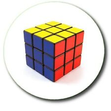 "RUBIK'S CUBE FAB 80'S RETRO GEEK... 25 mm (1"") BUTTON BADGE"