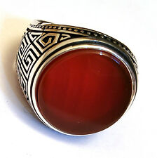 H.Q. Turkish 925 S. Silver Red Agate aqeeq Stone Men's Ring Sz 10.5 us #0218