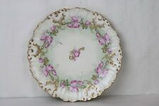 Limoges Charger Platter Antique Round Hand Painted Pink Roses Gilt Shell
