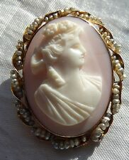 Victorian 10k Yellow Gold Carved Angel Skin Coral Cameo Seed Pearl Brooch Pin