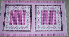 2 Breast Cancer Awareness Pillow Panels Fabric Cotton Think Pink Ribbon