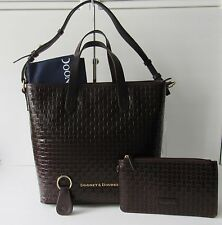 NWT DOONEY & BOURKE WOVEN EMBOSSED LEATHER SHOPPER W/ ACCESSORIES, T'MORO BROWN